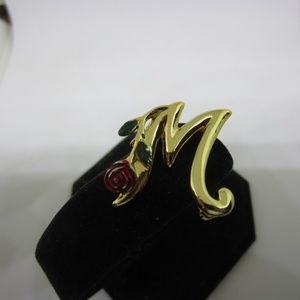 Jewelry - M with Red Rose Brooch